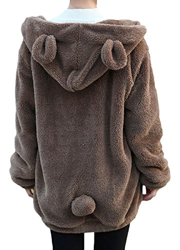 Women's Bear Ear Plush Hoodies Long Sleeve Zip Up Sweatshirt Fleece Jacket Coats size One Size (Brown) -