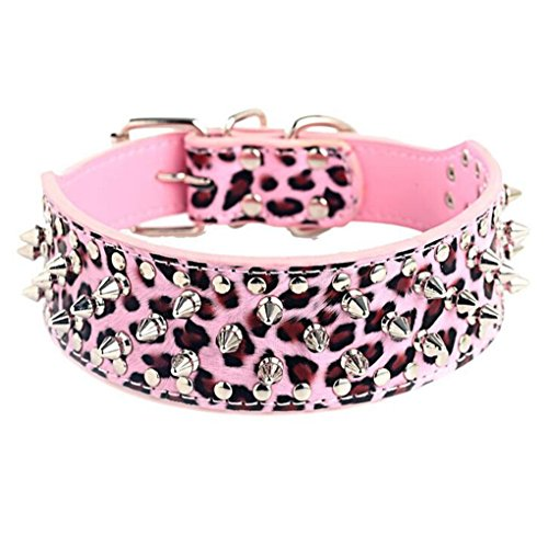 Collar Pink Leopard - HOOT PU Leather Adjustable Spiked Studded Dog Collar 2