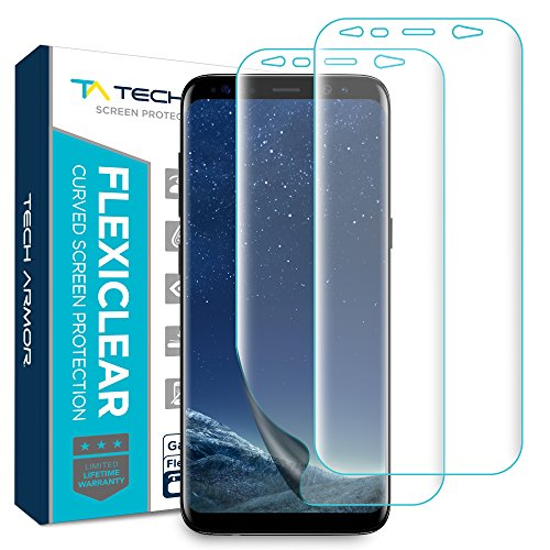 Tech Armor [Wet Applied] Thermoplastic Film (TPU) Screen Protector for Samsung Galaxy S8, Complete Curved Edge Display Coverage, Bubble Free, HD Clear [2-Pack]