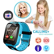 Smart Watch for Kids, Kids Phone Watch with Camera GPS Tracker, PLUSARGENT Game Watch Support Calls Touchscreen Anti-lost SOS Bracelet Children Holiday Birthday Gifts(SIM Card Not Included)