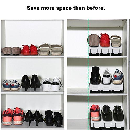 8 Rack PCS Black schwarz Storage Verstellbar Schuh amp;white Greenskon Farbe Saver Holder Slots Schuh Organizer Space 8SvqwTR