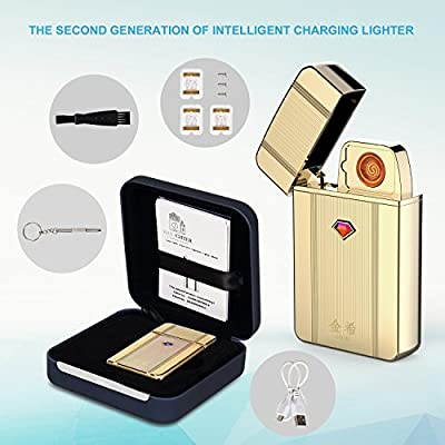 Electronic Lighter, Jinxi USB Charger Cigarette Lighter long battery life No Gas Flameless with USB Charging Cable Gift box Stylish Metal Cigarette Lighter