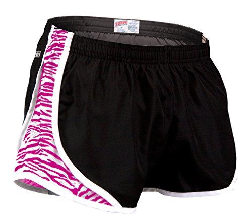 Soffe Women's Juniors' Team Shorty Shorts, Black/Neon Pink Zebra, Medium from Soffe