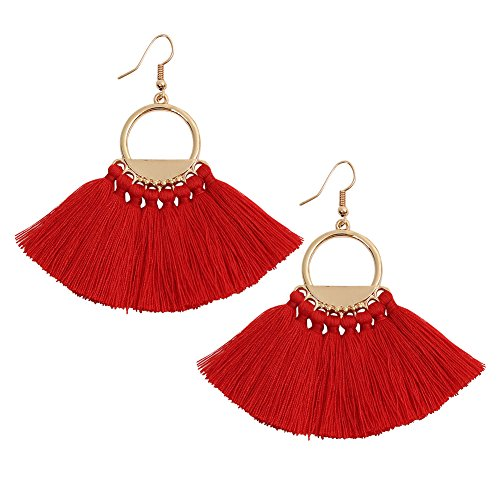 Pokich Tassels Dangle Earrings Boho Dangle Gold Plated Hoop Earrings Hook 8 Colors for Women