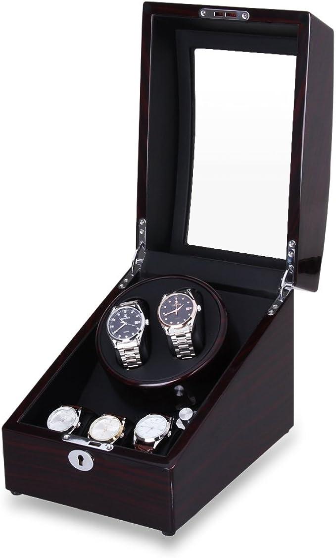 Excelvan Estuche Bobinadora para 5 Relojes, Cajas para Relojes, Cargador para Relojes Automáticos, 4 Modos de Rotación, Caja con Rotor, Rotador Reloj, Multi: Amazon.es: Relojes