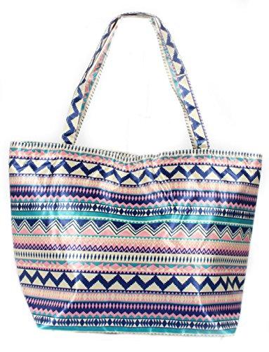 Damen Strandtasche Shopper Beachbag Strand Tasche Azteken Muster blau rosa Jl2Xc