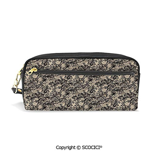 Students PU Pencil Case Pouch Women Purse Wallet Bag Abstract Old Fashioned Blossoms Nature Inspired Feminine Pattern Baroque Influences Decorative Waterproof Large Capacity Hand Mini -