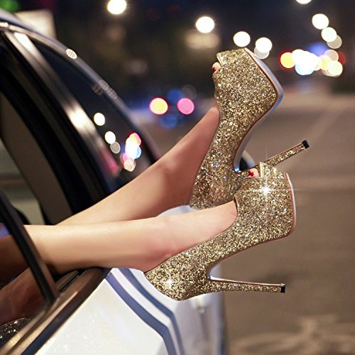 Heels Mouth Spring Sequins Women Elegant Shop MDRW Heels Work Golden Shoes Fine Sexy Lady Night High 14Cm Platform Fish Single 37 Leisure Shoes Waterproof fOqn6AnwI