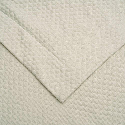 Superior Diamond Solitaire Jacquard Matelassé 100% Premium Cotton Bedspread with Matching Shams, Twin, Ivory