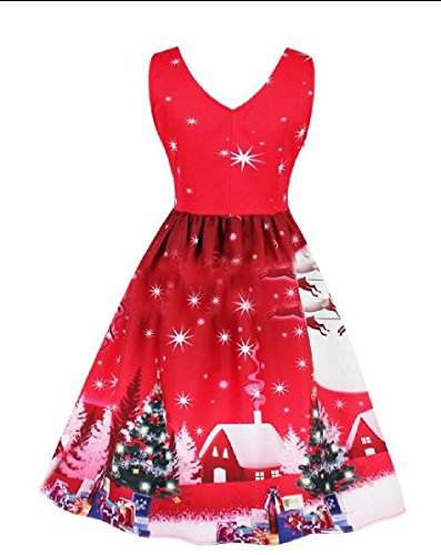 Noël Coolred-femmes À Motifs Manches Robe T-shirt Col En V Rouge