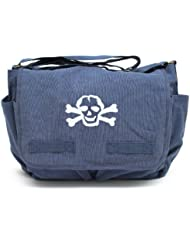 Heavyweight Canvas Messenger Shoulder Bag Carry-All Diaper Bag with Scribble Skull