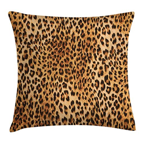 Ambesonne Animal Print Throw Pillow Cushion Cover, Wild Animal Leopard Skin Pattern Wildlife Nature Inspired Modern Illustration, Decorative Square Accent Pillow Case, 24 X 24 Inches, Sand Brown