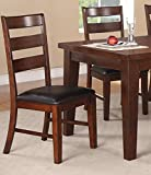 Set of 4 Dining Side Chair w/ Dark Chocolate Upholstered Seat in Antique Walnut