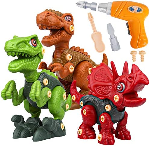 Sanlebi Take Apart Dinosaur Toys for Boys – Building Toy Set with Electric Drill Construction Engineering Play Kit STEM Learning for Kids Girls Age 3 4 5 Year Old