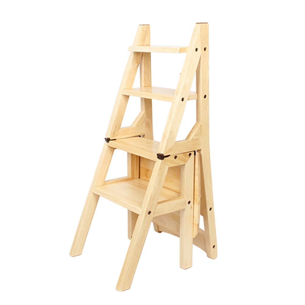 折りたたみソリッドウッド4ステップラダーシンプルなデュアルユースステップスツール屋内多機能家庭用階段スツール、ウッドカラー B07JKN8XPS