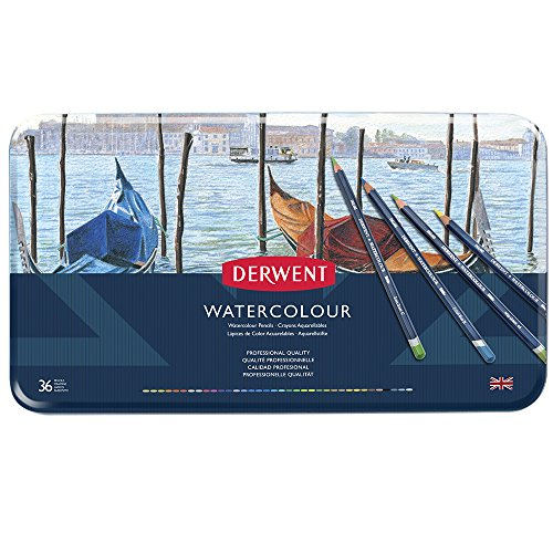 - Derwent Colored Pencils, WaterColour, Water Color Pencils, Drawing, Art, Metal Tin, 36 Count (32885)