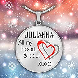 Valentine Ideas For Her Julianna All My Heart Soul Xoxo Valentine For Wife Necklace Extender Silver Necklace With Name Personalized Name Personalized Necklace Name Stainless Steel