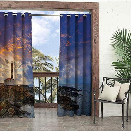 Balcony Waterproof Curtains Lighthouse Cap de Favaritx Sun Lighthouse Cape in Mahon at Balearic Islands of Spain Coast Porch Grommets Cabana Curtain 120 by 96 inch