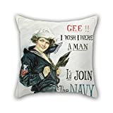 Bestseason Throw Pillow Covers 16 X 16 Inches / 40 By 40 Cm(both Sides) Nice Choice For Boys,christmas,indoor,bench,father,dining Room Oil Painting Howard Chandler Christy - Gee I Wish I Were A Man,