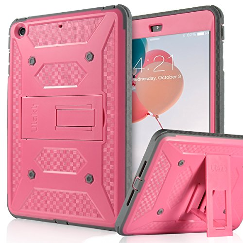 ULAK iPad Mini Case [KNOX ARMOR] Full-Body Rugged Hybrid Protective Case Kickstand for Apple iPad Mini 1/2/3 with Built-in Screen Protector (Rose Red)