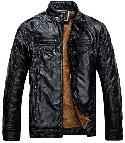 Jacket Black Sale Coat Hot Men Outwears Leather Fleece Faux UK Line FqwPnwv8