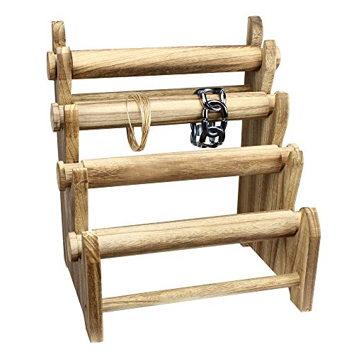 Ikee Design Antique Wooden 4 Tier Bar Bracelet/Bangle Jewelry Holder Stand Display Organizer ()