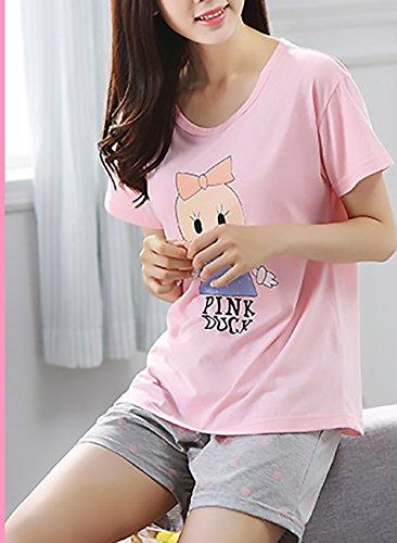 Comodo Estivo Animato Giovane Cute Pantaloni Da Corta Corto 1 Manica Donna Grazioso Pigiama Casual Pink Stampato Due Cartone Sonno Rotondo Collo Pezzi Pigiamas Homewear Pigiama Women UwqZFq5