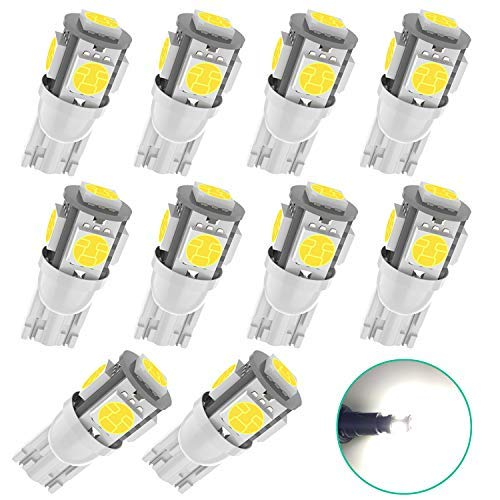 10Pcs White Replacement Socket 194 T10 168 2825 W5W 175 158 Bulb 5050 5SMD LED Light,12V Car Interior LED Light Bulbs For Map Dome Lamp Courtesy Trunk License Plate Dashboard Parking Lights