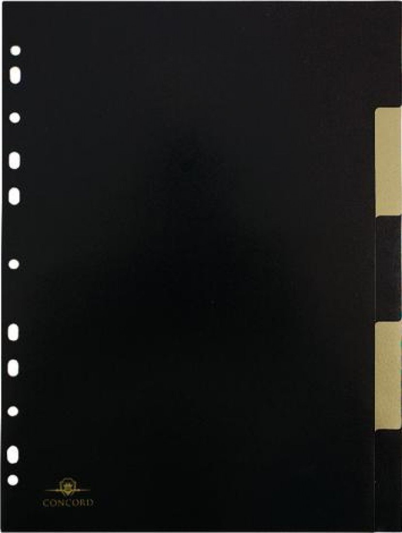 Concord A4 Noir 5 Part Divider - Black/Gold (Pack of 1) 7737-NOI