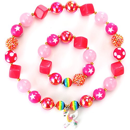 PinkSheep Kids Unicorn Necklace, Pink Beads Necklace for Girls. Cute Chunky Bubblegum Necklace and Bracelet set -
