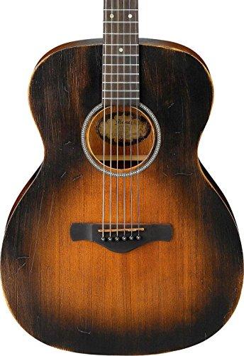 Vintage Acoustic Body Guitar - Ibanez AVC6 Artwood Vintage Distressed Grand Concert Acoustic Guitar Tobacco Sunburst