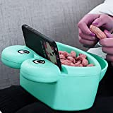 Hipat Universal Lazy Cell Phone Holder, Plastic Cute Blue Cartoon Frog 2 in 1 Lounging Snack Bowl, Cell Phone Stand for All Android and IPhone Smartphones, Enjoy Your Movies and Snacks Hands Free