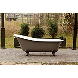 "Grey Brown 67"" Antique Inspired Cast Iron Porcelain Clawfoot Bathtub 5.5' Flat Rim Slipper Bathtub Package Bronze Feet"