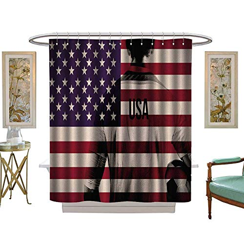 luvoluxhome Shower Curtains 3D Digital Printing House Sports Composite Double Exposure Image of A Soccer Player andAmerican Flag National USA Run W72 x L84 Bathroom Decor Set with Hooks