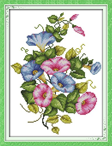 - Joy Sunday Cross Stitch Kits,Flower Style,Morning Glory,14CT Counted, 27cm×34cm or 10.53