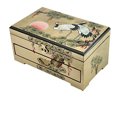 Hand Painted Wood Jewelry - Surely Oriental Wood Jewelry Box/Case/Storage with Cranes Design by Hand Painted