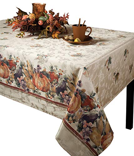 Benson Mills Jubilee Printed Jacquard Tablecloth For Thanksgiving, Harvest and Fall (60