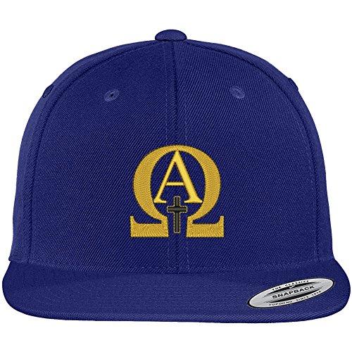 - Trendy Apparel Shop Flexfit Original Alpha Omega Embroidered Flat Bill Snapback Cap - Royal