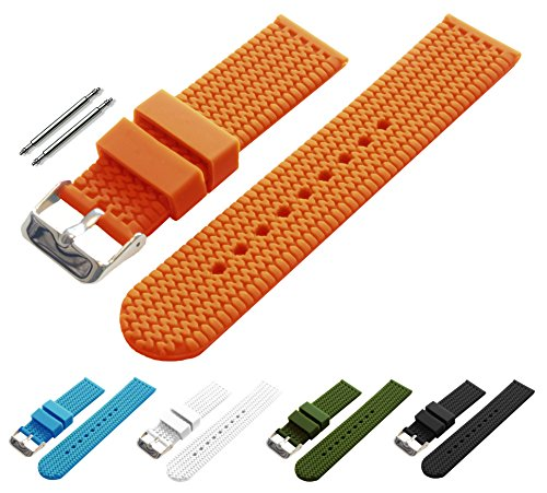 BARTON Watch Bands - Choice of Colors & Widths (18mm, 20mm, 22mm or 24mm) - Pumpkin 24mm - Soft Silicone rubber
