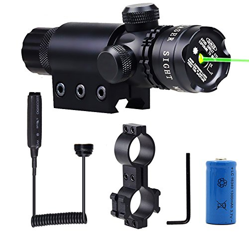 Shockproof 532nm Tactical Green Dot Laser Sight Rifle Gun Scope Rail and Barrel Mounts Cap Pressure Switch (Shotgun Rifle Scope For)