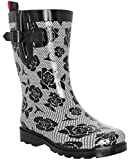 Capelli New York Ladies Lace and Roses Printed Mid- Calf Rain Boot 9, Black White
