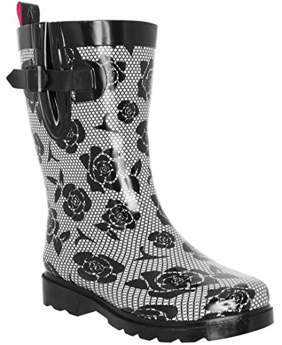 (Capelli New York Ladies Lace and Roses Printed Mid- Calf Rain Boot Black Combo 7)
