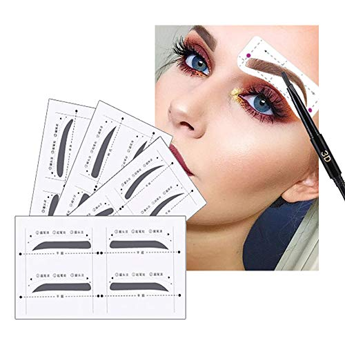 Ruler Stamp (Eyebrow Stencil with Eyebrow Razor - Brow Stencil Ruler Shaping Template for DIY Grooming – Eyebrows Grooming Stencil Kit Reusable Styling Tool, 16 Unique Styles, 32 pairs (Stencils+Razors))