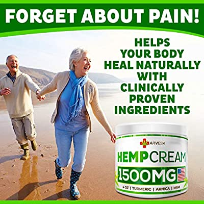 Hemp Pain Relief Cream - 18 000MG - 4 OZ - Made in USA - Lower Back, Neck, Joint, Knee, Muscle Inflammation - All-Natural Hemp Extract - with Emu Oil, Arnica, MSM, Turmeric