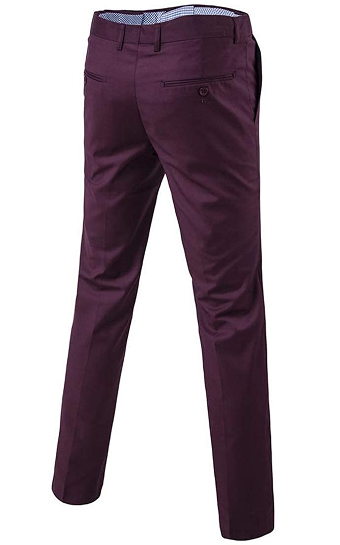 JSY Mens Basic Solid Color Trousers Mid Waist Formal Open Bottom Leisure Pants