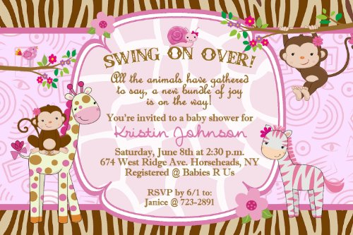 Jungle Safari Baby Shower Invitations for a Girl Personalized Qty 20