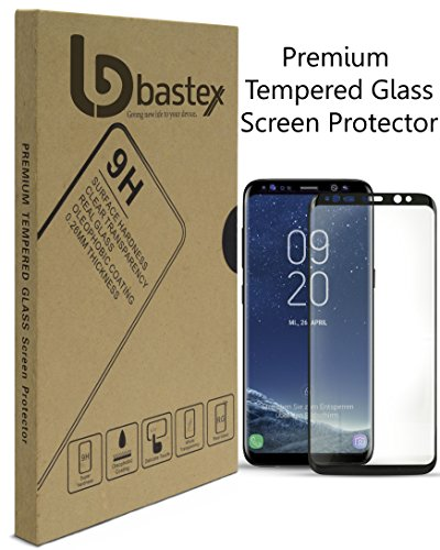 (Samsung Galaxy S8 Bastex Glass Screen Protector Offers Full Screen Coverage, Clear Transparency, Anti-Bubble Shield with Black Face Plate for Samsung Galaxy S8)