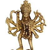Hindu Goddess Kali Religious Gift Hinduism Decor Brass Sculpture, H: 6 Inches, W: 670 Gms