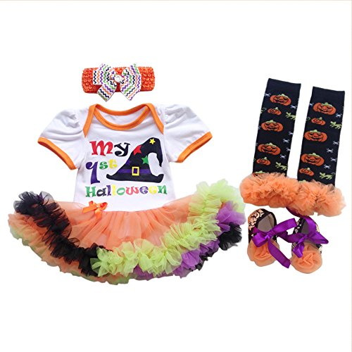 [Baby Girls Christmas Baptism Picture Tutu Dress Bodysuit Headband Leg Warmer Shoes Set First Halloween Costume White 6-12 Months] (Warm Bodies Costume)