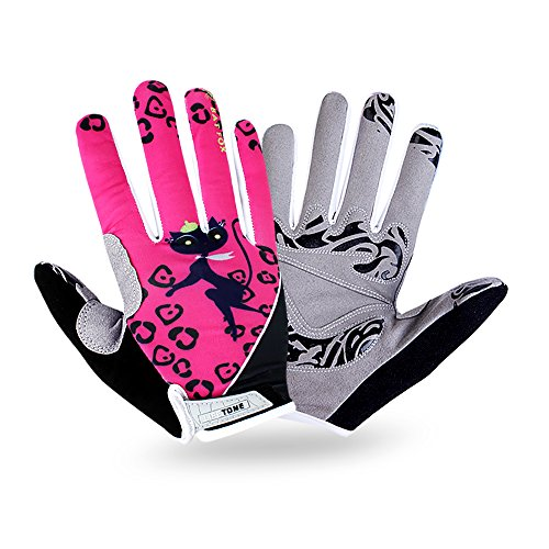 Batfox Mountain Road Bike Cycling Gloves Full Finger Gel Padded,Silicone Gripper, Comfortable Wear Resistant Leather Palm,High Elastic Breathable Fabric (2212 Cat, XL(Palm width (Wear Padded Palm Gloves)